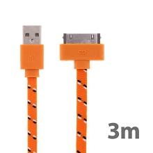 Synchronizační a nabíjecí kabel s 30pin konektorem pro Apple iPhone / iPad / iPod - tkanička - plochý oranžový - 3m