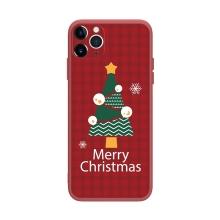Kryt pro Apple iPhone 12 Pro Max - vánoční - gumový - červený / stromeček