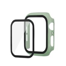 Tvrzené sklo + matný rámeček pro Apple Watch 44mm Series 4 / 5 / 6 / SE - světle zelený