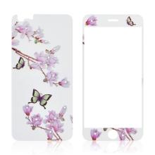 Tvrzené sklo (Tempered Glass) pro Apple iPhone 6 / 6S - na přední a zadní část - s kamínky - motýli a magnolie - 0,3mm
