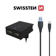 2v1 nabíjecí sada SWISSTEN pro Apple zařízení - EU adaptér (2x USB) a kabel Lightning 1,2m - černá