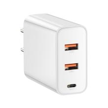 EU napájecí adaptér / nabíječka BASEUS Speed pro Apple iPhone / MacBook - 2x USB + USB-C - bílý