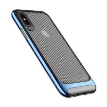 Kryt USAMS pro Apple iPhone X - vroubkovaný - plastový / gumový - průhledný / modrý