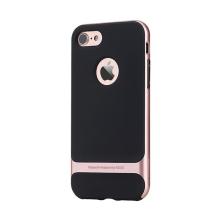 Kryt ROCK Royce pro Apple iPhone 7 / 8 gumový / růžově zlatý (Rose Gold) plastový rámeček - černý