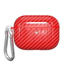 Pouzdro / obal pro Apple AirPods Pro - karbonová textura - gumové - červené