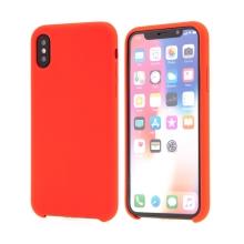 Kryt pro Apple iPhone Xs - gumový - příjemný na dotek - červený