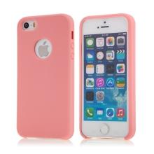 Kryt pro Apple iPhone 5 / 5S / SE - gumový - příjemný na dotek - výřez pro logo - růžový