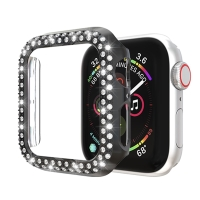 Kryt / pozdro pro Apple Watch 44mm Series 4 / 5 / 6 / SE - s kamínky - plastový - černý