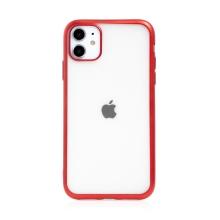 Kryt FORCELL Electro Matt pro Apple iPhone 11 - gumový - průhledný / červený