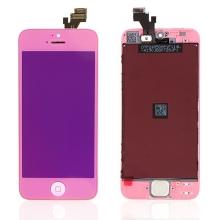 LCD panel + dotykové sklo (touch screen digitizér) + Home Button pro Apple iPhone 5 - pogalvanizovaný povrch - růžový