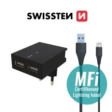 2v1 nabíjecí sada SWISSTEN pro Apple zařízení - EU adaptér (2x USB) a kabel MFi Lightning 1,2m - černá