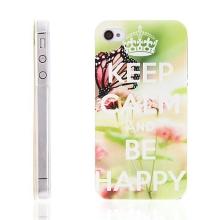 Plastový kryt pro Apple iPhone 4 / 4S - Keep Calm And Be Happy - motýl - barevný