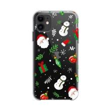 Kryt FORCELL Winter pro Apple iPhone 12 / 12 Pro - gumový - průhledný / sněhuláci a dárky