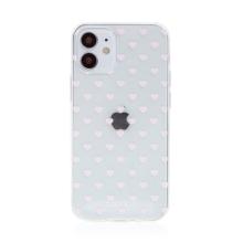 Kryt BABACO pro Apple iPhone 12 mini - gumový - srdíčka - průhledný
