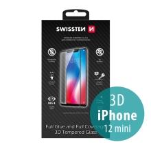 Tvrzené sklo (Tempered Glass) SWISSTEN pro Apple iPhone 12 mini - 3D - černý rámeček - 0,3mm