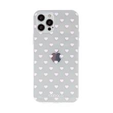 Kryt BABACO pro Apple iPhone 12 / 12 Pro - gumový - srdíčka - průhledný