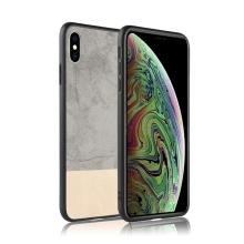 Kryt pro Apple iPhone Xs Max - plastový / umělá kůže - šedý / béžový