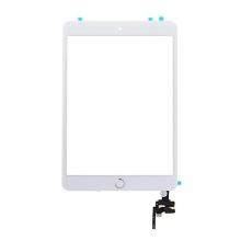 Dotykové sklo (touch screen) s IC konektorem a flex s Home Buttonem pro Apple iPad mini 3 - bílé se stříbrným tlačítkem - kvalita A+