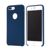 Kryt pro Apple iPhone 8 Plus - gumový - příjemný na dotek - výřez pro logo - tmavě modrý