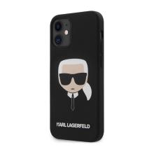 Kryt KARL LAGERFELD Head pro Apple iPhone 12 mini - hlava Karla - silikonový - černý