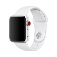 Řemínek pro Apple Watch 44mm Series 4 / 5 / 6 / SE / 42mm 1 / 2 / 3 - velikost S / M - silikonový - bílý