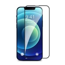 Tvrzené sklo (Twice-tempered Glass) DEVIA pro Apple iPhone 13 / 13 Pro - černý rámeček - silikonová hrana - 0,3mm