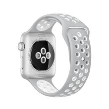 Řemínek pro Apple Watch 44mm Series 4 / 5 / 42mm 1 2 3 - silikonový - šedý / bílý - (M/L)