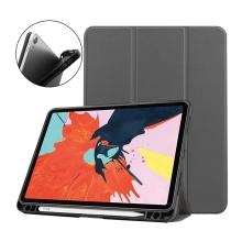 Pouzdro / kryt pro Apple iPad Air 4 (2020) - chytré uspání - držák Apple Pencil - umělá kůže - šedé