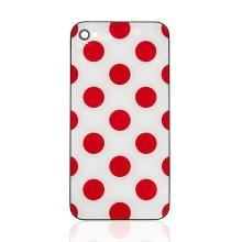 Náhradní zadní kryt (sklo) pro Apple iPhone 4 - bílý s červenými puntíky
