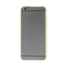 Kryt pro Apple iPhone 6 / 6S - gumový plastový / žlutý rámeček - matný průhledný