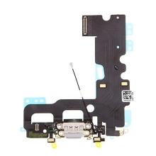 Napájecí a datový konektor s flex kabelem + GSM anténa + mikrofony pro Apple iPhone 7 - šedý - kvalita A+