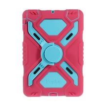 Odolné plasto-silikonové pouzdro se stojánkem a přední ochrannou vrstvou pro Apple iPad mini / mini 2 / mini 3 - modro-růžové