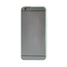 Kryt pro Apple iPhone 6 / 6S - gumový plastový / světle zelený rámeček - matný průhledný