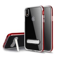 Kryt pro Apple iPhone Xr - stojánek - gumový / plastový - průhledný / červený