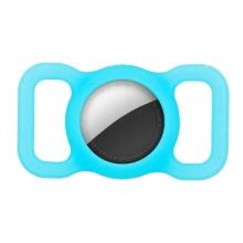Kryt pro Apple AirTag - spona na batoh / psí obojek - silikonový - modře svíticí