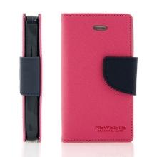 Pouzdro Mercury Fancy Diary pro Apple iPhone 4 / 4S, stojánek a prostor pro platební karty - růžové modré