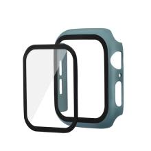 Tvrzené sklo + matný rámeček pro Apple Watch 44mm Series 4 / 5 / 6 / SE - tmavě zelený