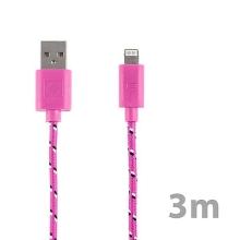 Synchronizační a nabíjecí kabel Lightning pro Apple iPhone / iPad / iPod - tkanička - růžový - 3m