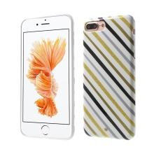 Kryt ISMILE pro Apple iPhone 7 Plus / 8 Plus - gumový - černé, šedé a zlaté pruhy / bílý