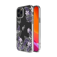 Kryt KINGXBAR pro Apple iPhone 12 / 12 Pro - s kamínky - plastový - motýli a květiny - stříbrný / fialový