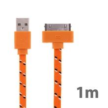 Synchronizační a nabíjecí kabel s 30pin konektorem pro Apple iPhone / iPad / iPod - tkanička - plochý oranžový - 1m
