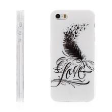Kryt / obal pro Apple iPhone 5 / 5S / SE - gumový - pírko Love