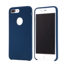 Kryt pro Apple iPhone 7 Plus - gumový - příjemný na dotek - výřez pro logo - tmavě modrý