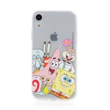 Kryt Sponge Bob pro Apple iPhone Xr - gumový - Sponge Bob s kamarády
