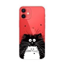 Kryt pro Apple iPhone 13 mini - gumový - černá a bílá kočička