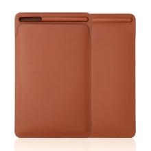 """Pouzdro / obal pro Apple iPad velikosti 9,7 """" / 10,2"""" / 10,5"""" - kapsa na Apple Pencil - umělá kůže - hnědé"""