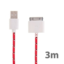 Synchronizační a nabíjecí kabel s 30pin konektorem pro Apple iPhone / iPad / iPod - tkanička - červený - 3m