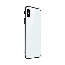 Kryt SULADA pro Apple iPhone X - kov / sklo - bílý