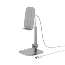 Bezdrátová nabíječka / nabíjecí podložka Qi BASEUS - 2x cívka - stojánek - plastová / hliníková - stříbrná