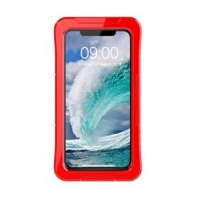 Pouzdro pro Apple iPhone 11 - voděodolné - plast / silikon - průhledné / červené
